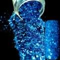 Shimmer Синий Nail Art Mix Размер Блеск DIY Маникюр Украшения Порошок Дизайн Ногтей Салон Продукты 251