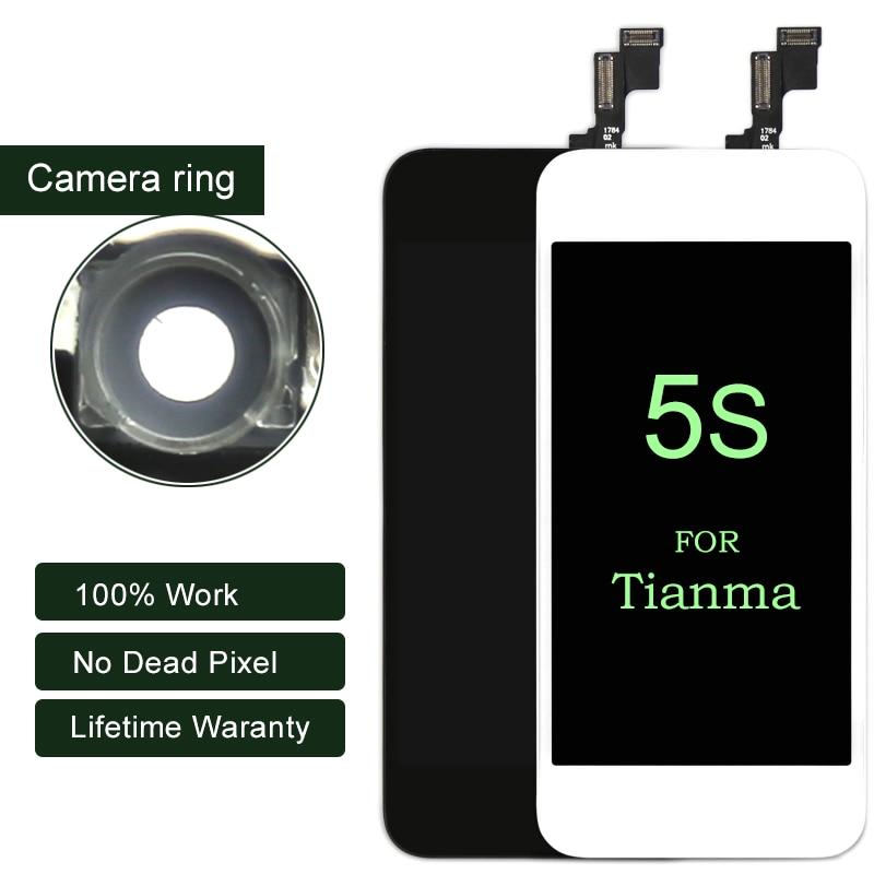 10 pcs Pour iphone 5S LCD Écran D'affichage Pour Tianma Qualité Tactile Digitizer 4 pouce Pour iphone Écran Noir et blanc Mobile Téléphone LCD