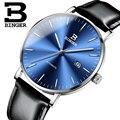 Элегантные деловые синие механические часы из натуральной кожи  автоматические наручные часы с календарем  мужские часы  простые Montre