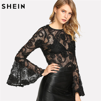 SHEIN Flare Sleeve 3D Sheer Lace Top Long Sleeve Blouse 2018 Spring Round Neck Black Sexy