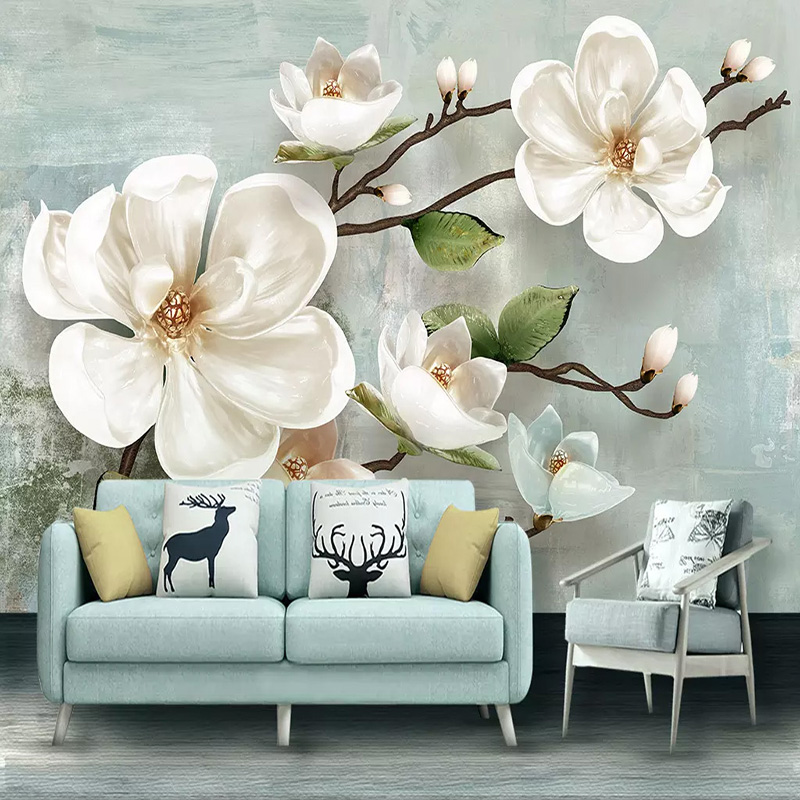 3d Wallpaper Stereo Relief Magnolia Flower Murals Modern Simple Living Room Bedroom Home Decor Wall Painting 3 D Papel De Parede Best Offer 1030 Cicig