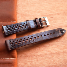 Handmade Vintage Leather Strap Watch Strap Porous waterproof Breathable Bracelet Band 18mm 20mm 22mm dark Red Watchband #C carbon fiber particles watchband 18mm 20mm 22mm 24mmblack waterproof red stitching with genuine leather inner watch band strap