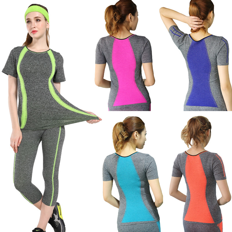 New-Style-Yoga-Gym-Compression-Tights-Women-s-Sport-T-shirts-Dry-Quick-Running-Short-Sleeve