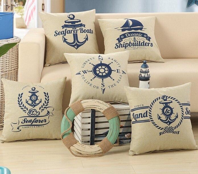 Nautical Anchor Sailor Sailing Boat Cotton Linen Cushons Cover Home Chair- Bed Chair Pillows Cover Pillowcase Cover 45x45cm B89