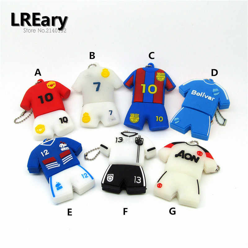 Regalo de moda real capacidad cool fútbol camiseta usb flash drive pendrive usb 2,0 4GB 8GB 16GB 32GB cadena de metal