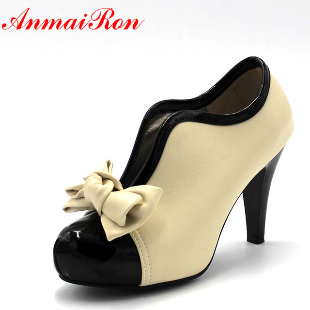 ANMAIRON New Fashion Spring/Autumn Style Bow Ankle Boots Round Toe High High Heels Slip-On Women's Boots size 35-39 A5jXSD