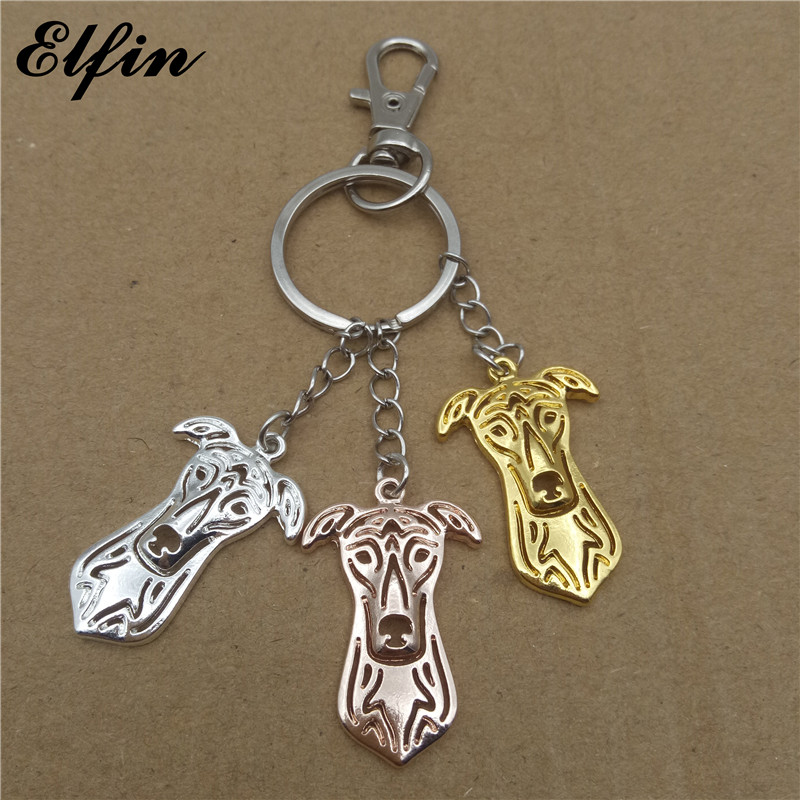 Elfin 2017 Trendy Greyhound Key Chains Gold Color Silver Color Animal Pet Jewellery Fashion Dog Key Rings For Women Men