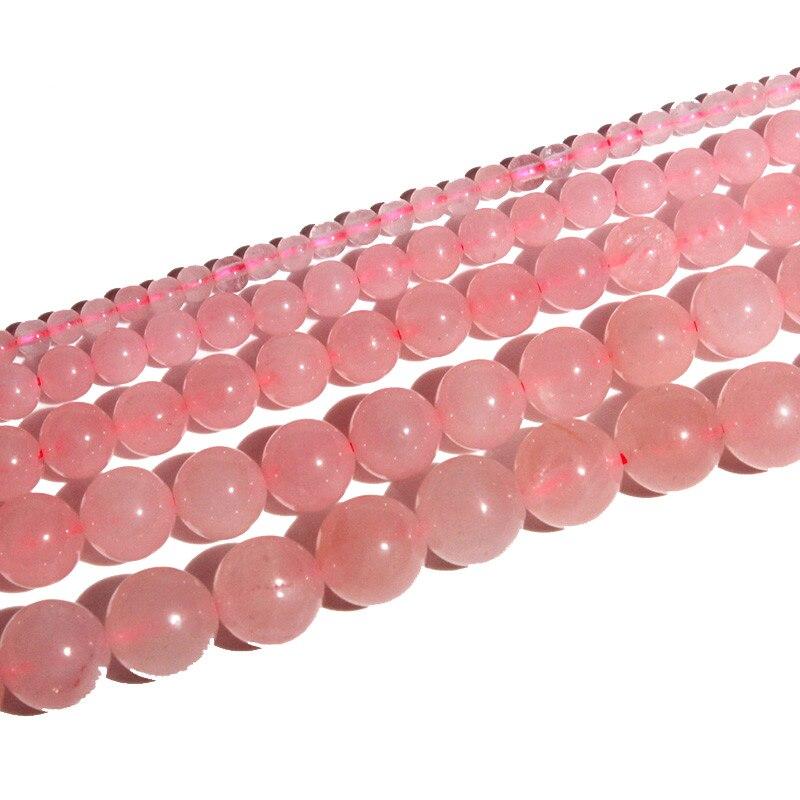 4/6/8/10/12mm Runde Rosa Kristall Stein Perlen Armband Zubehör Mode Diy Armbänder Schmuck Für Frauen Geschenk Meajoe Tropf-Trocken Perlen