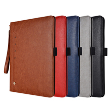 Multi Straps Handheld Calf Leather Case for iPad 2 3 4 Foldable Business Card Stand Smart Cover Apple iPad4 iPad3 iPad2 9.7