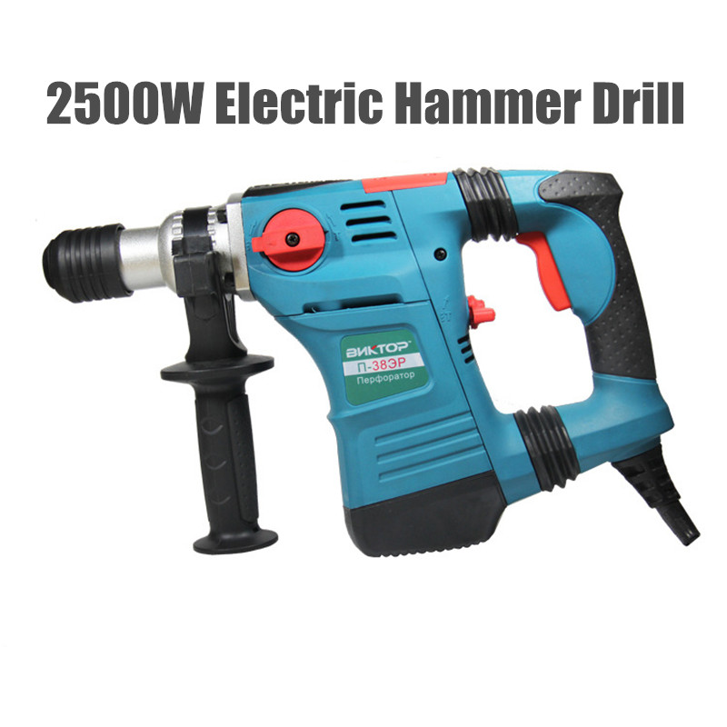 2500W Electric Hammer Drill Stone Chisel Wall Bricks Professional Slot Machine Breakerhydropower Tool(with 5 Dills)