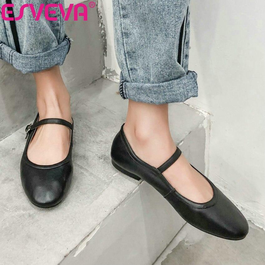 ESVEVA 2019 plat femmes chaussures solide printemps/automne décontracté dentelle peu profonde bout rond en cuir souple Miss chaussures peu profonde taille 34-39
