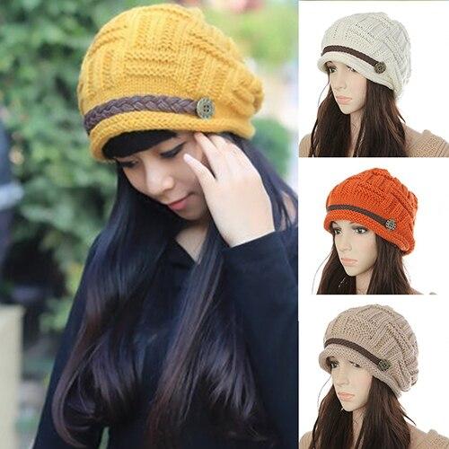 Women Fashion Winter Warm Beanie Hat Woolen Yarn Knit Crochet Cap Headwear warm keeping woolen yarn hat w mouth mask black grey