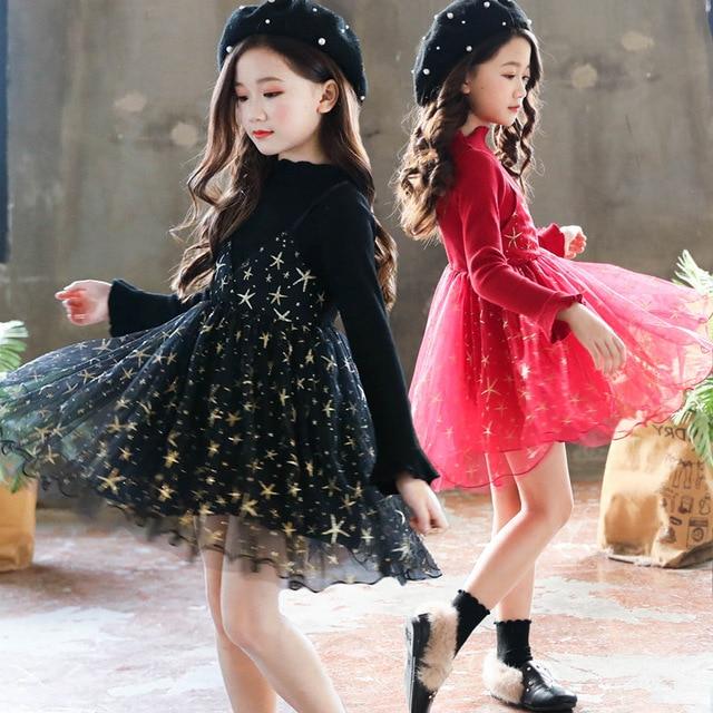86265f2913b2 Anlencool Girls dress 2018 autumn new children s Korean version of the lace princess  dress fake two