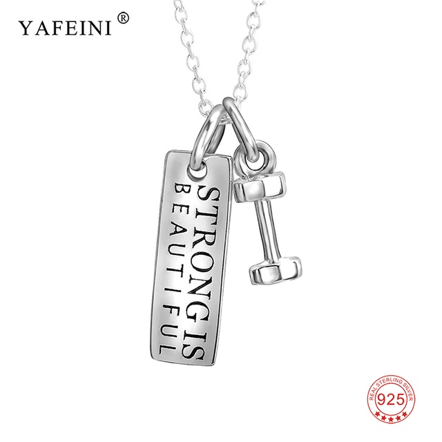 Dumbbell strong is beautiful lettered fitness statement necklace dumbbell strong is beautiful lettered fitness statement necklace 925 sterling silver black engraved pendant mozeypictures Images