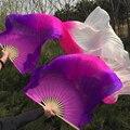 Новое поступление фиолетовый / розовый / белый восточный натуральный шелк фаты вентилятор для танца живота китай 100% шелк вуаль вентиляторы для сценического шоу