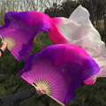 New Arrival Purple/Pink/White oriental real Silk Fan Veils for belly dance china 100% silk Veil Fans for Stage Show