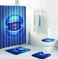 MUZZI 1 set 4 pieces Polyester Fabric Bath Shower Curtain Bathroom Product Bath Curtain with Carpet Bathroom Floor Mat