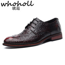 WHOHOLL PU Leather Men Dress Shoes Pointed Toe Bullock Oxfords Shoes for Men Lace Up Designer Luxury Crocodile Vamp Men Shoes