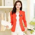 Mulheres blazer branco 2016 nova primavera e outono fino outerwear um botão fino ol longo-manga curta blazer feminino terno