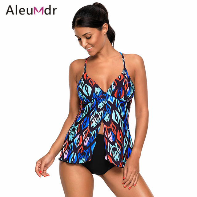 ac873ad847fe5 Aleumdr Hot 2017 Swimming Suit For Women Multi Print Sexy Flyaway Tankini  Swimsuits Two-piece LC410466 Traje De Bano Mujer