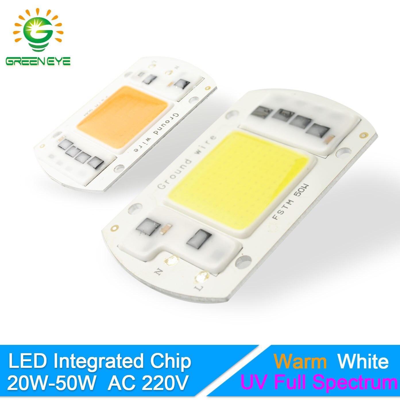 GreenEye Integrated LED Lamp Chip Warm/Cold White/UV Grow Light Full Spectrum 220V 240V 20W 30W 50W Flower Plant Spot Flood Bulb