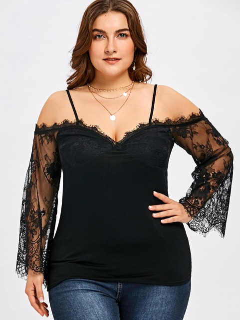 e590ab3bee4 5XL Plus Size Women Bell Sleeve Blouse Sexy Spaghetti Strap Black Lace Tops  Female Hollow Out Backless Shirt Novelty Blouse