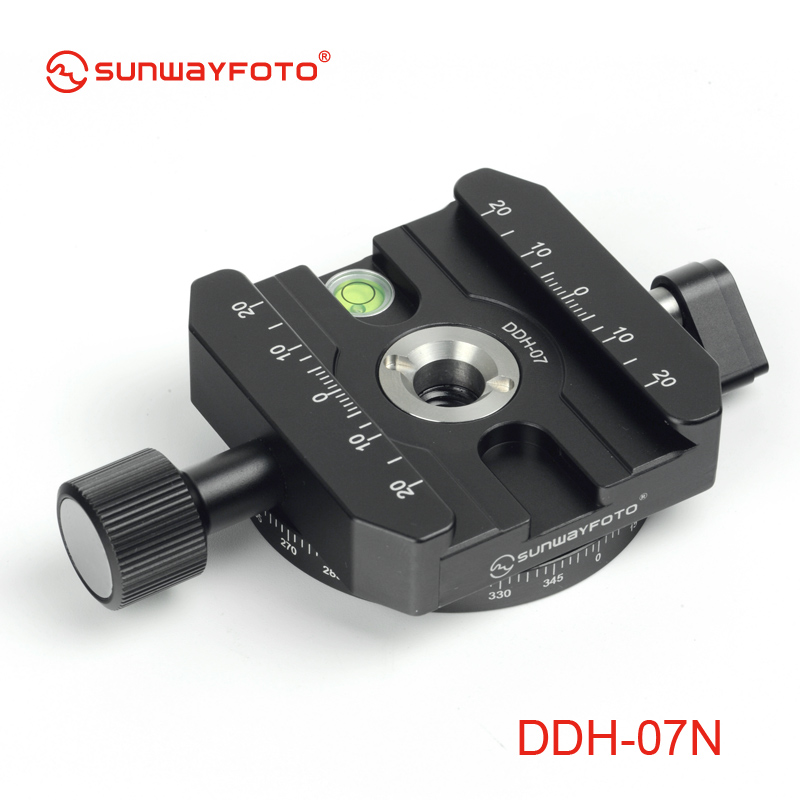 SUNWAYFOTO DDH-07N Tripod Head Quick Release Clamp  for DSLR   BallHead Panoramic panning Release Clamp without Arca Plate xiletu j2 360 panoramic panorama ballhead clamp aluminum alloy tripod head with quick release plate damping tuning system