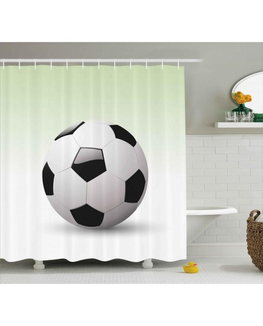 Sports Shower Curtain Football Soccer Ball Print For BathroomWaterproof And Fabric Kids