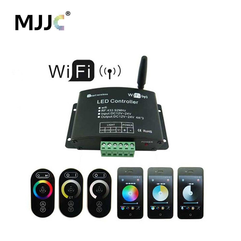 Сенсорный Wifi светодио дный RGB светодиодный контроллер 12 В в В 24 В 12A приложение Android RF беспроводной Wifi диммер контроллер для RGB CT одноцветная С...