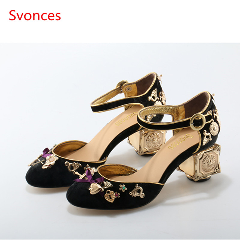 Women Slipony Fretwork Angel Heel Pumps Handmade Mary Janes High Heels  Metal Decoration Party Wedding Shoes Woman Sandal Sapatos-in Women s Pumps  from Shoes ... 13cb06ceda25