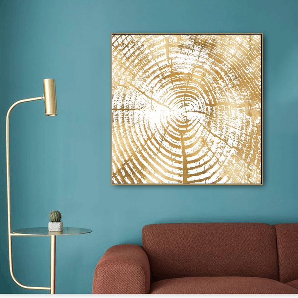 Calligraphy & Painting Golden Annual Ring Print Canvas Decoration Pictures Posters For House Living Room Bedroom Home Wall Art(China)