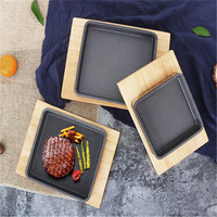 square Cast Iron Roasting Steak Pan Non Stick Roast Enamel Fried Pot Plate Frying Pan Wooden Base Holder Cookware dinner plates