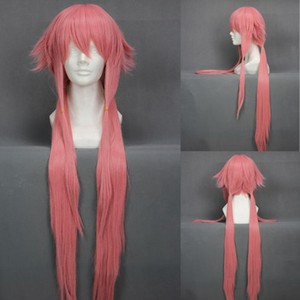 Image 3 - The Future Diary Yuno Gasai 80cm Long Pink Straight Womens Girl Heat Resistant Cosplay Costume Wig + Track + Cap