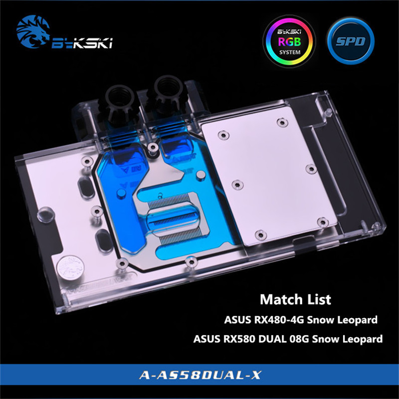 Bykski Full Coverage GPU Water Block For ASUS RX480 4G / RX580 DUAL O8G Graphics Card A-AS58DUAL-X bykski full coverage gpu water block for msi rx580 480 gaming x8g 8g 4g graphics card a ms58gmx x