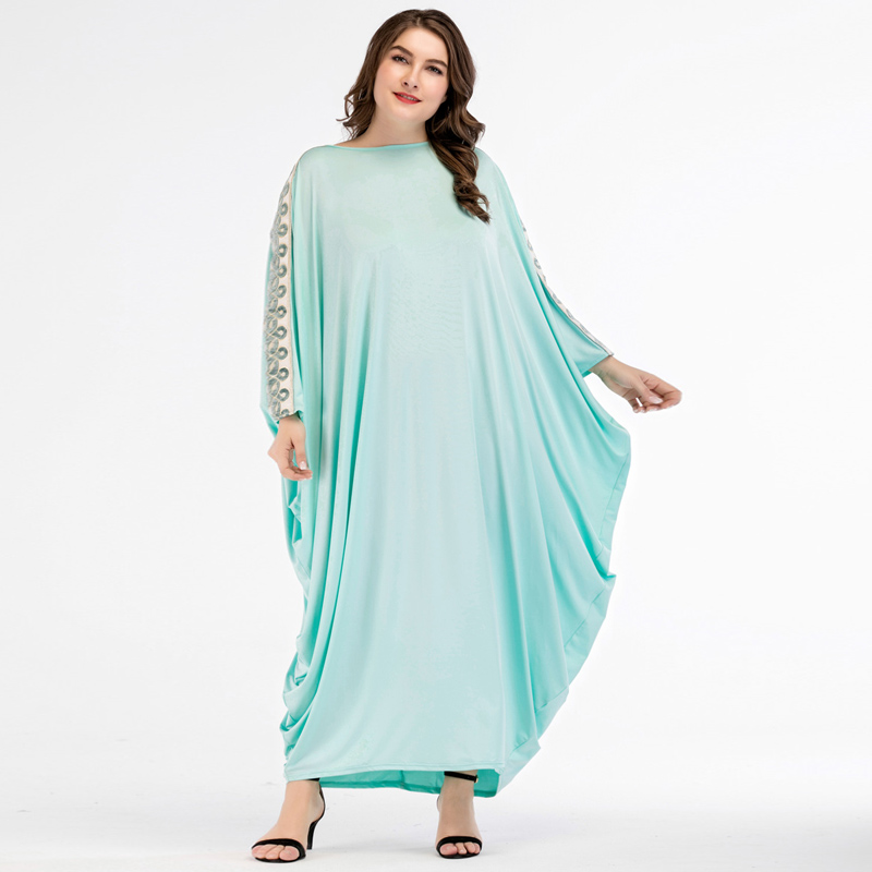 Wanita Elegan Biru Muda Lengan Kelelawar Longgar Maxi Gaun Enthnic Pola Patch Ukuran Besar Arab Gamis Muslim Gaun Pesta Pakaian Islamic Aliexpress