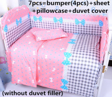 Promotion! 6/7PCS Bow baby bedding set organic cotton child bedding autumn and winter ,duvet cover ,120*60/120*70cm