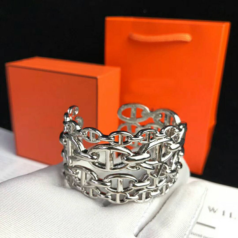 Hot Brand Pure 925 Sterling Silver Jewelry For Women Men Letter Round H Lock Jewelry Silver Bangle France Quality