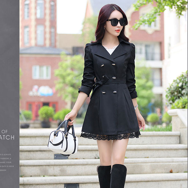 2019 Autumn New Fashion Brand Trench Coat Woman Vinatge Double Breasted Trench Coat For Women Business