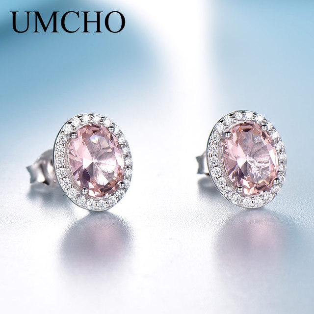 UMCHO Solid 925 Sterling Silver Stud Earrings For Women Rose Pink Sapphire Morganite Earrings Wedding Engagement Jewelry Gift