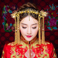Vintage Chinese Style Classical Jewelry Traditional Bridal Headdress Wedding Hair Accessory Gold Color Brides Headband Hairpins