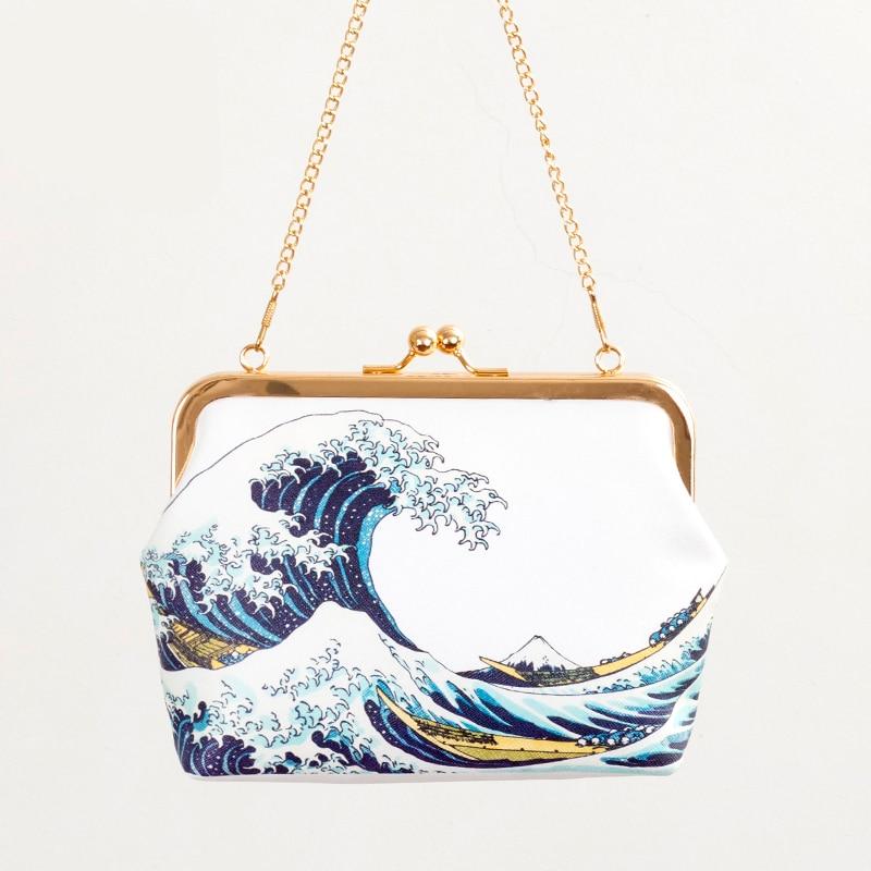 여성을위한 고품질 PU 가죽 Crossbody 가방 2016 새로운 아름다운 여성 핸드백 큰 바다 물결 여성의 Bolsos Mujer 인쇄
