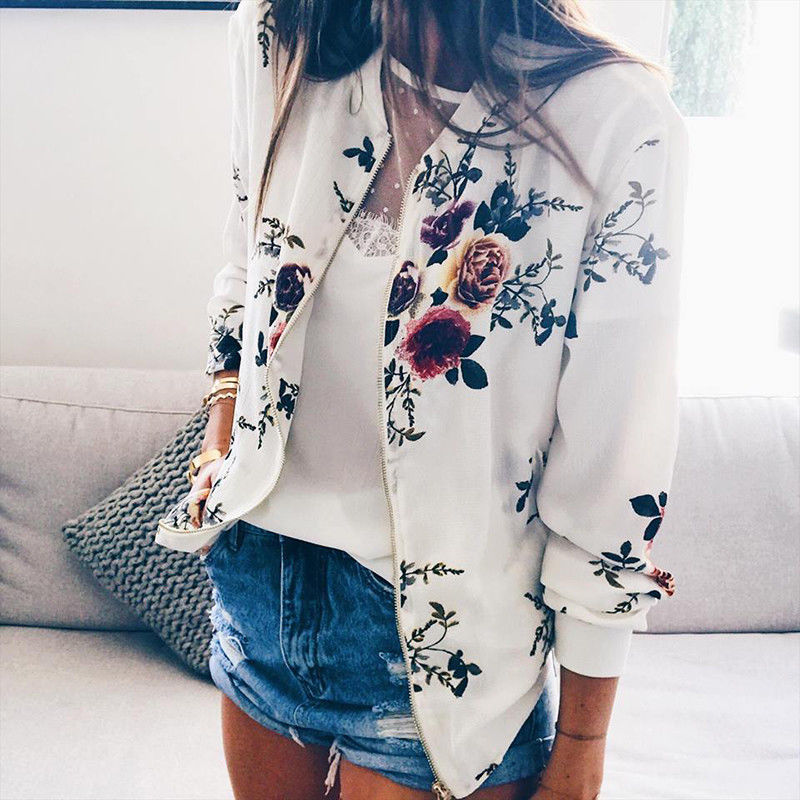 Plus Size XS-5XL Retro Style Women Print Baseball Uniform 2019 Summer Women Long Sleeves Bomber Jacket Basic Short Jackets(China)