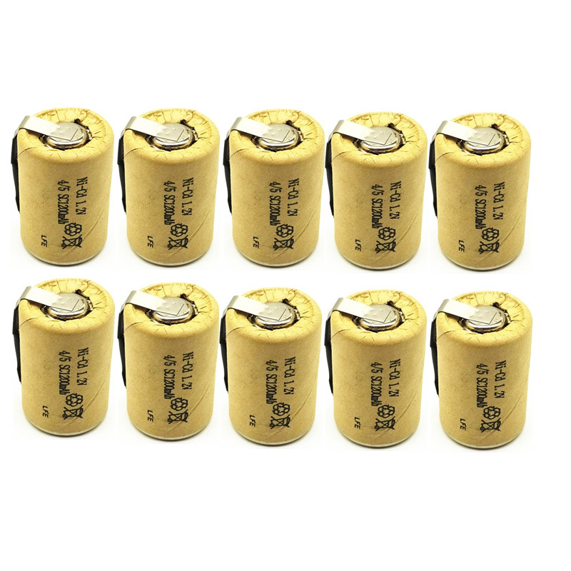 10/lot High quality battery rechargeable battery sub battery 4/5 SC Ni-Cd battery <font><b>1.2</b></font> v with tab <font><b>1200</b></font> mAh for Electric tool image