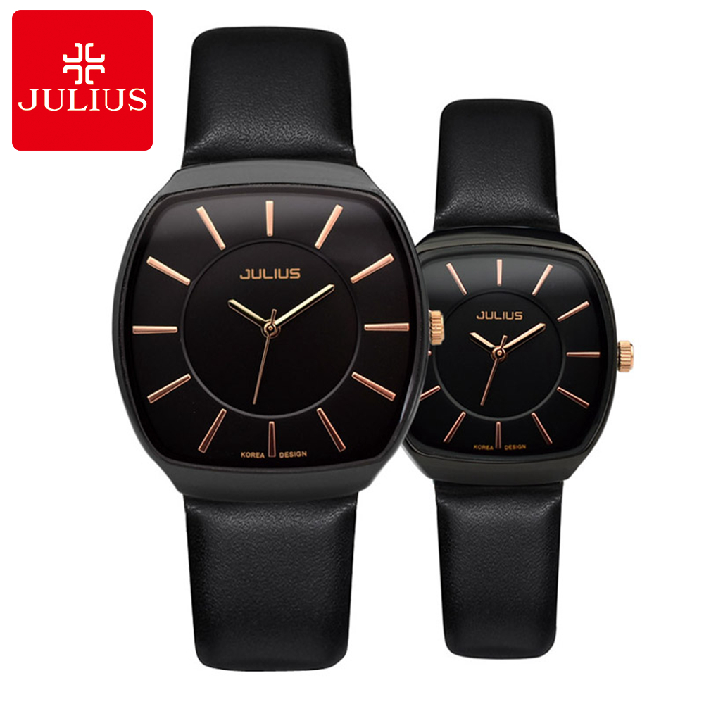 Super Hot Lovers' Leather Wristwatch Men Women Quartz Watches Fashion Casual Watch Famous Brand Julius 669 Clocks Free Shipping цена