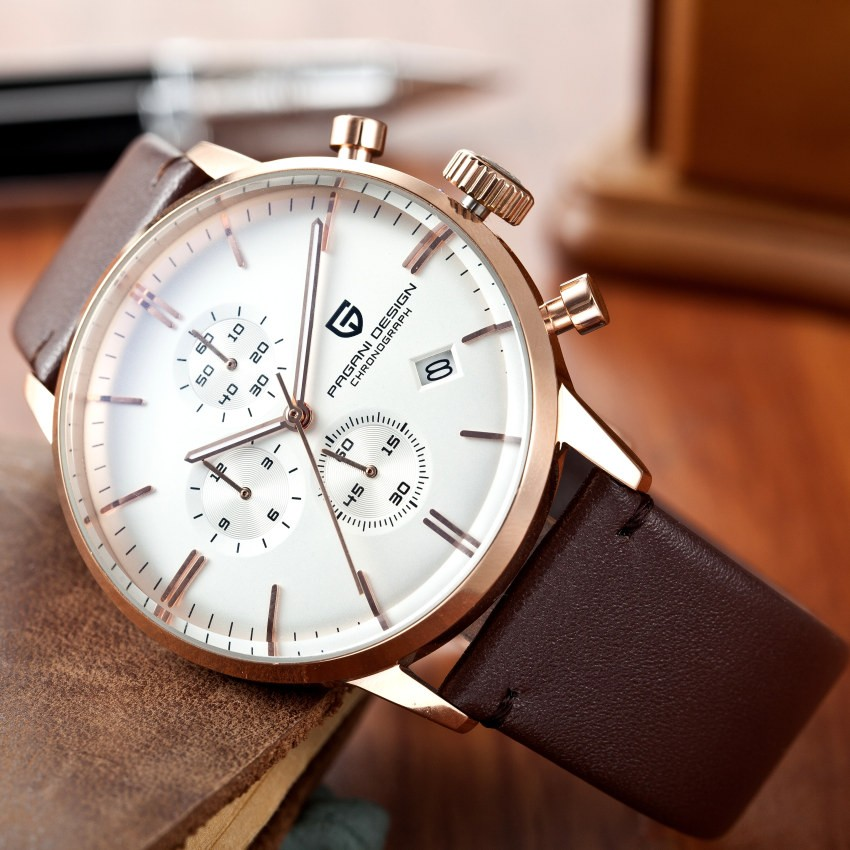 Men 39 s luxury waterproof genuine leather watch for Leather watch for men