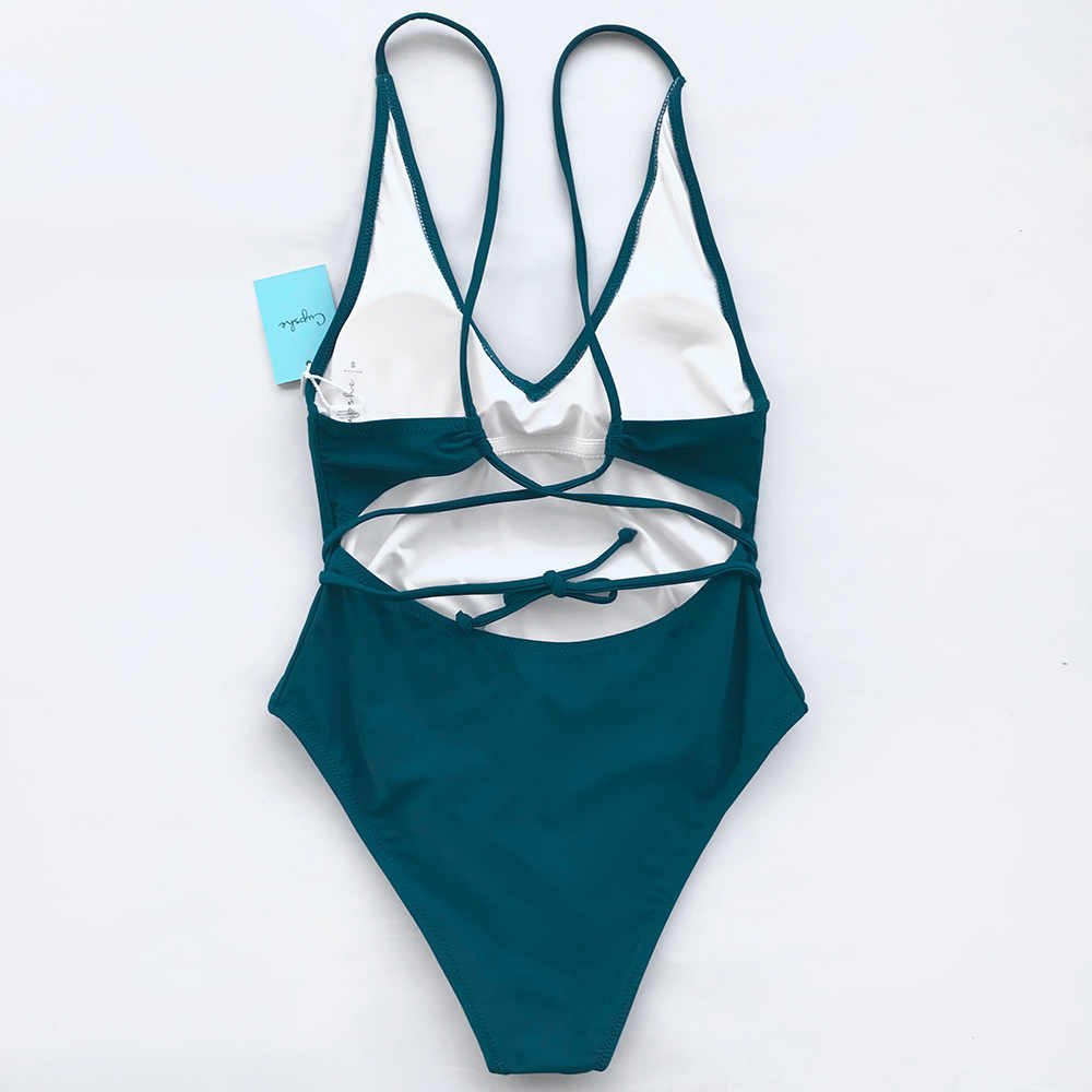 897710b2b30fa ... CUPSHE Watch The Clouds Solid One-piece Swimsuit Backless Deep V neck  Summer Sexy Bikini