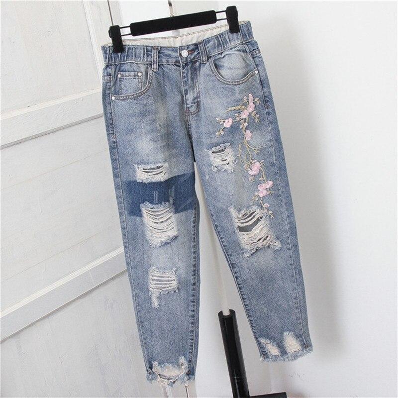 Женские шаровары с высокой талией, джинсы с вышивкой, рваные джинсы для девочек, большие размеры 200 фунтов, джинсы для женщин в стиле бойфрен...
