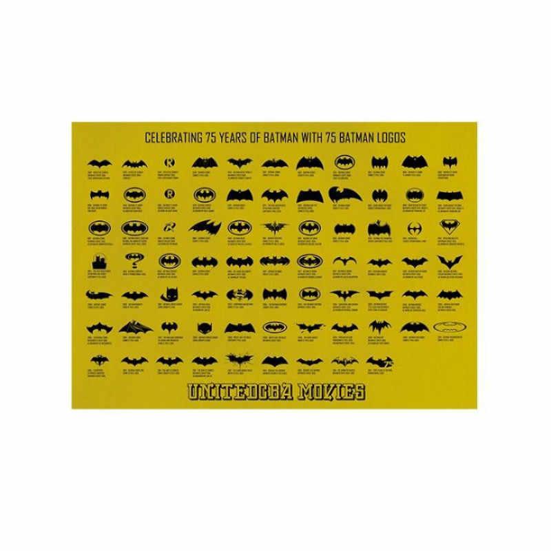 빈티지 75 다크 나이트 로고 포스터 룸 장식 스티커 벽 장식 크래프트 종이 홈 인테리어 벽 스티커 어린이를위한 객실