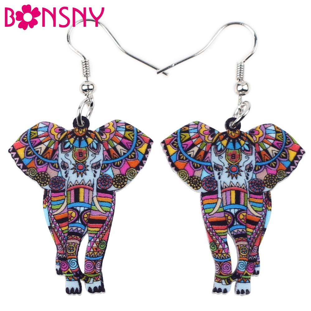 Bonsny Cute Big Long Animal Acrilic Dangle Drop Elephant JUNGLE Cercei 2017 Știri Stiluri Dangle Bijuterii de modă pentru fete femei