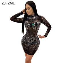 e8b877aa93129 Glitter Strass Sexy Plus La Taille Robe Femmes Noir O Cou À Manches Longues  Moulante Robe